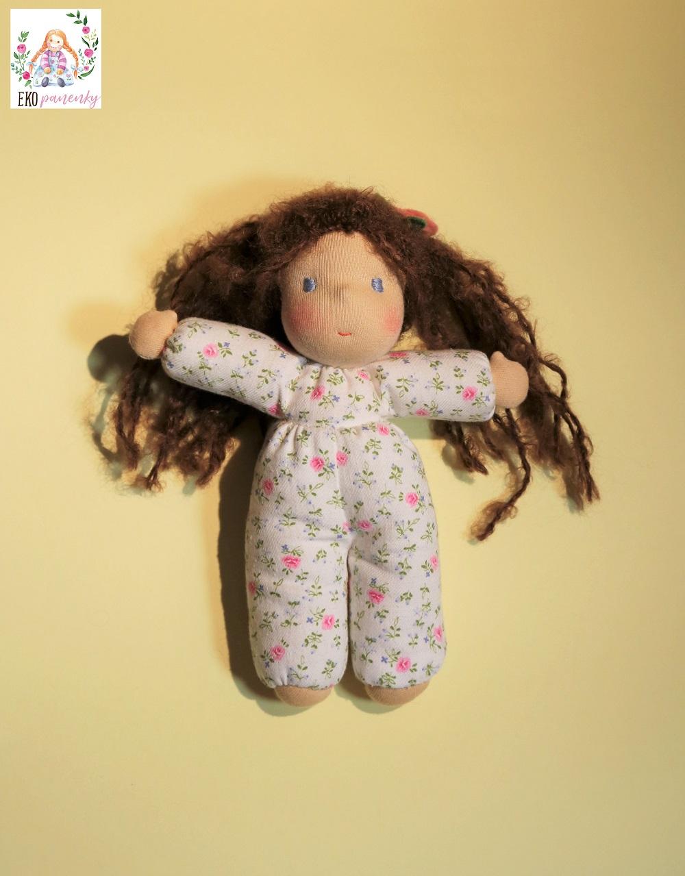 Růženka, látková ručně šitá panenka, Ekopanenky