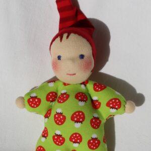 měkká mazlinka, ručně šitá panenka skřítek