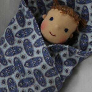 Ručně šitá panenka miminko holčička v zavinovačce