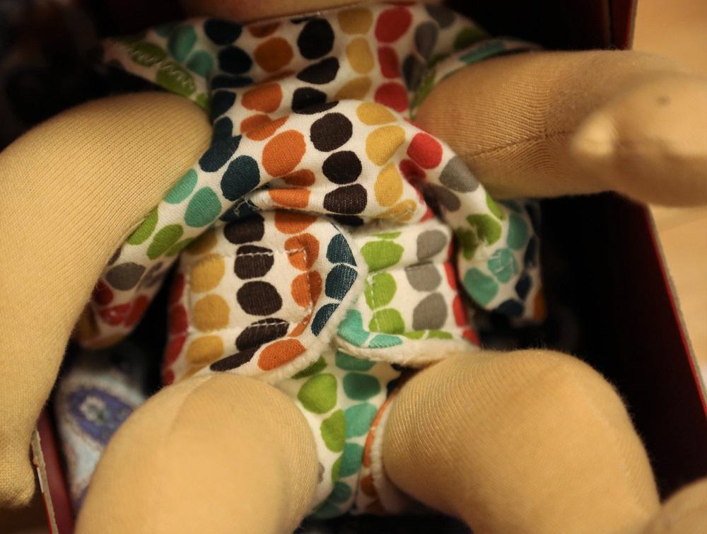 Zrzečka, ručně šitá panenka, plínka, šaty, biobavlna, ekopanenky