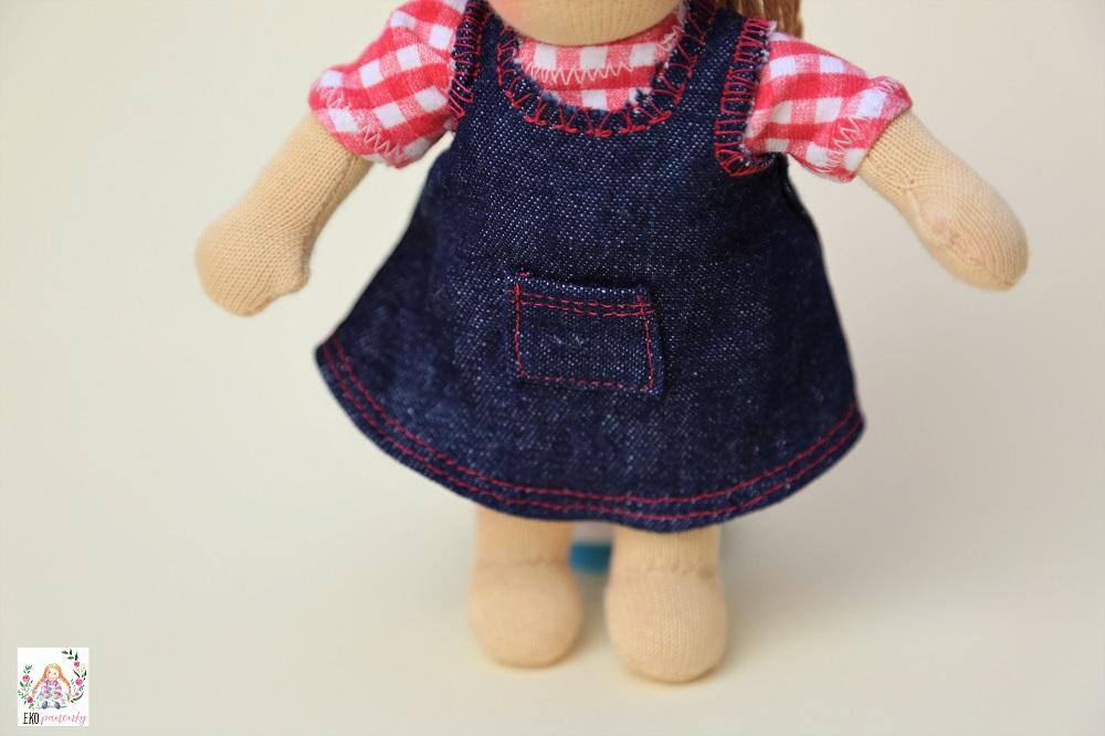 Džínová sukně s kapsičkou vpředu, šatovka, waldorfská panenka, ekopanenky, panenky s duší