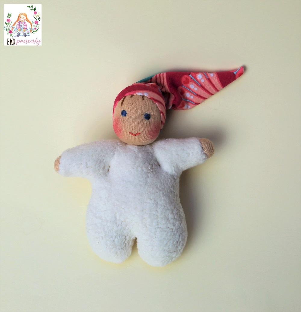 Skřítková holčička z biobavlny, waldorfská panenka, celkový pohled, ekopanenky
