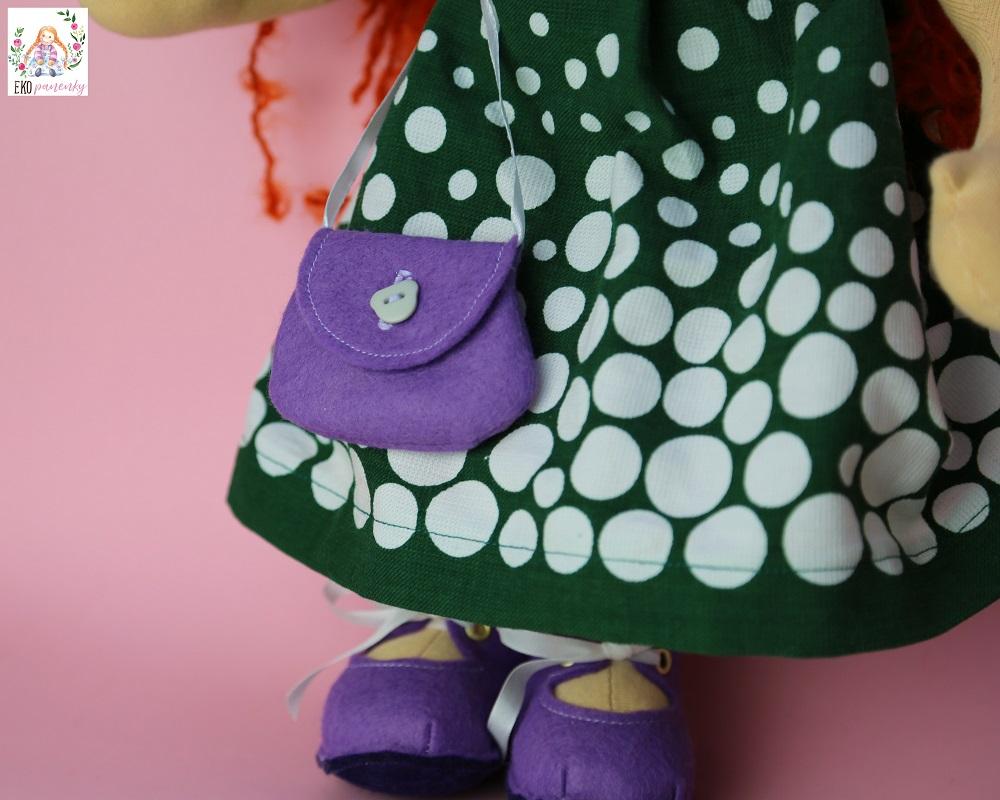 Kabelka pro panenku, zrzava rebelka, ručně šitá panenka z přírodních materiálů, ekopanenky