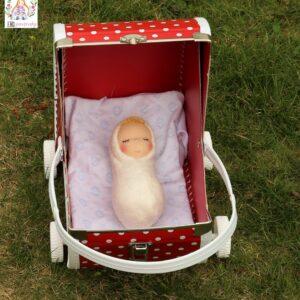 Látkové miminko s mohérovou čupřinou z biobavlny a ovčí vlny, ekopanenky.cz, panenky s duší