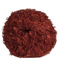 kaštanová, hnědočervená příze bouclé z mohéru na výrobu vlásků pro panenku