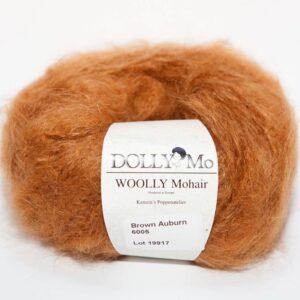 DollyMo Woolly Mohair, Brown Auburn, kaštanová příze na vlásky, šití panenky, jak udělat vlásky panenky
