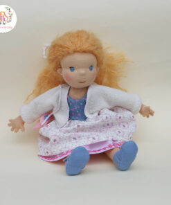 Panenka dívenka jako princezna bez korunky, ručně šitá panenka s mohérovými vlásky, ekopanenky, Tereza Jarošová