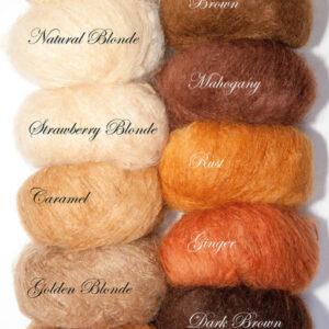 Woolly Mohair DollyMo, přehled odstínů, mohérová příze, panenková příze, vlásky panenky