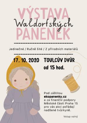 Plakát na výstavu panenek v Toulcově dvoře Praha 19. 10. 2020 Slet panenkářek s výstavou