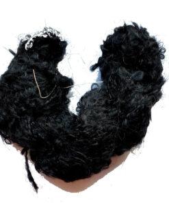 bouclé DollyMo černá, mohérová příze na vlásky pro panenky
